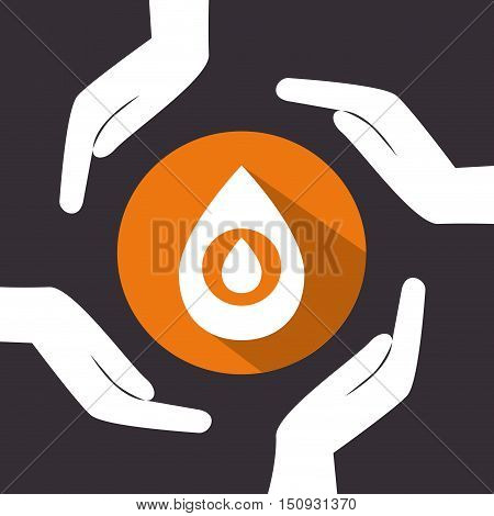 human hands with oil drop icon over orange circle. petroleum industry design. vector illustration