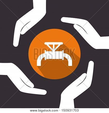 human hands with tap icon over orange circle. petroleum industry design. vector illustration