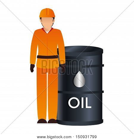 avatar industrial worker with safety equipment and oil can icon. vector illustration