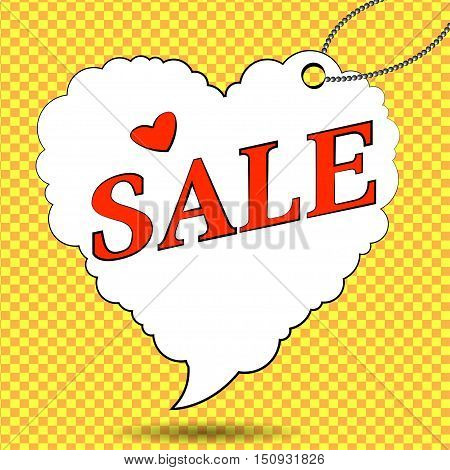 Sale. Sale label in form of heart in pop art style. Vector illustration.