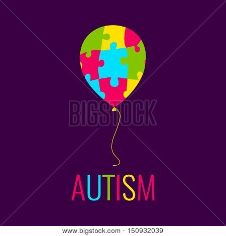 World Autism Day. Autism awareness poster with a colorful balloon made of puzzle pieces. Autism solidarity day. Medical disorder. Vector illustration.