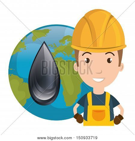 avatar man smiling industrial worker wearing safety clothes and equipment with earth planet globe and oil drop icon. vector illustration