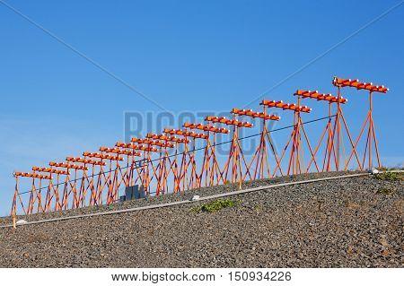 Aircraft instrument landing system (ILS) antenna array.