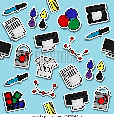 Colored polygraphy pattern. Spectrum and gamma, technology equipment, ink and palette, vector illustration