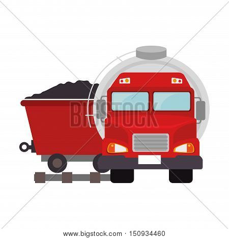 oil tank truck with cargo wagon with coal icon. vector illustration