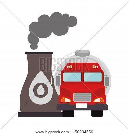 oil tank truck with petroleum industrial plant icon. vector illustration