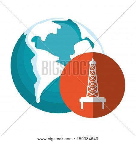 earth planet globe with oil rig tower icon over orange circle. vector illustration