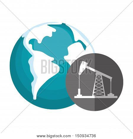 earth planet globe with oil rig tower icon over gray circle. vector illustration