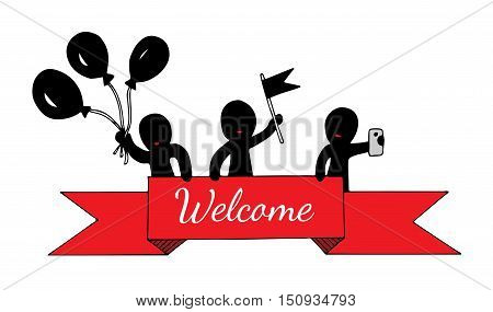 Abstract people hold a red ribbon with Welcome text hold balloons flag phone. Art element for adult coloring book page design child magazine banner template.