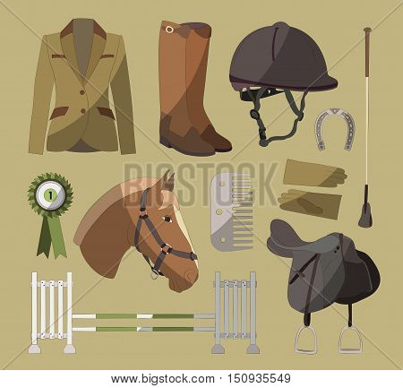Set of different colorful equipment for horses. Equestrian objects. Isolated elements. Cute brown horse.
