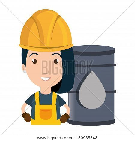 avatar woman smiling industrial worker with safety equipment and oil can over yellow circle icon. vector illustration