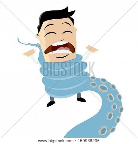 clipart of a man entwined by octopus tentacle