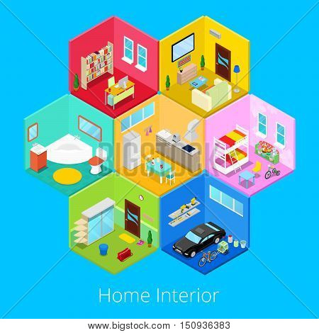 Isometric Home House Interior with Living Room, Kitchen, Bathroom, Garage and Children Room. Vector 3d flat illustration