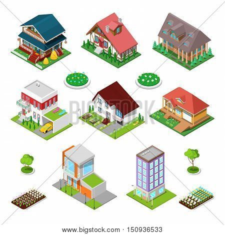 Isometric City Buildings Set. Modern Houses and Cottages with Flowers. Vector illustration