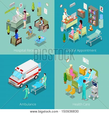 Isometric Hospital Interior. Doctor Appointment, Hospital Reception, Ambulance First Aid, Health Care. Vector 3d flat illustration