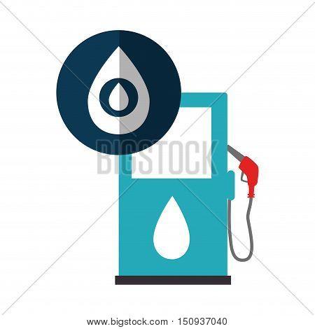 oil station pump with drop icon over blue circle. vector illustration
