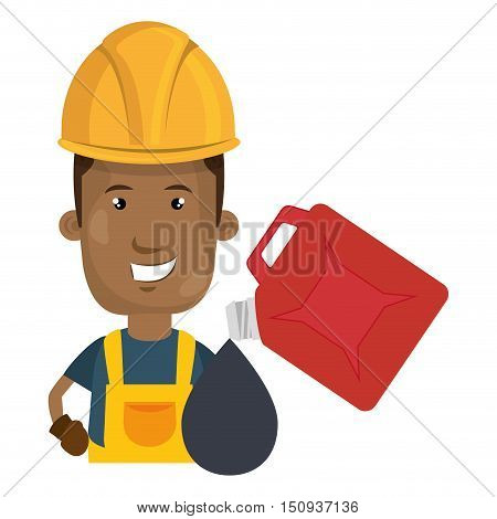 avatar man smiling industrial worker with safety equipment and oil gallon icon. vector illustration