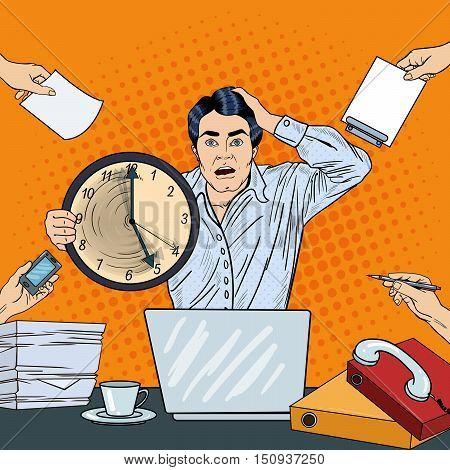 Stressed Pop Art Business Man Holding Big Clock at Multi Tasking Office Work Deadline. Vector illustration