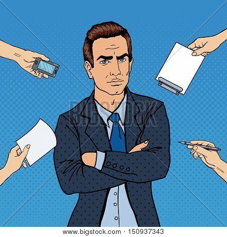 Pop Art Confident Businessman at Office Multi Tasking Work. Vector illustration