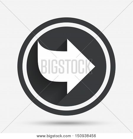 Arrow sign icon. Next button. Navigation symbol. Circle flat button with shadow and border. Vector