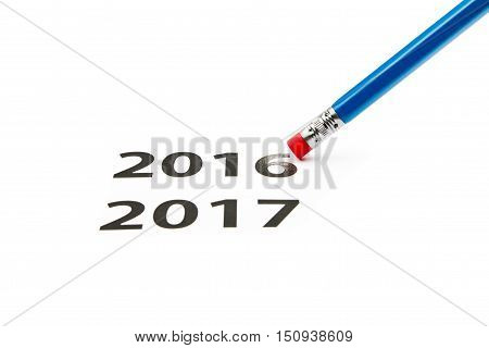 Eraser. Time concept. New year is coming.