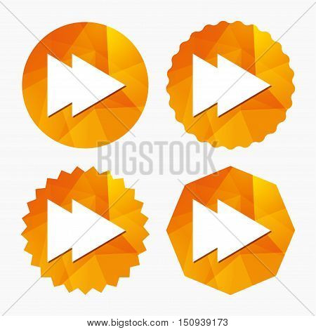 Arrow sign icon. Next button. Navigation symbol. Triangular low poly buttons with flat icon. Vector