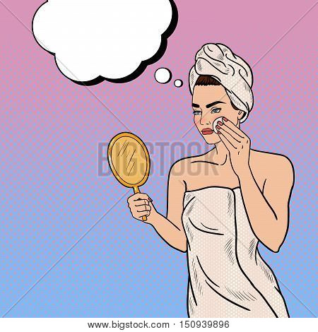 Pop Art Beautiful Woman Removing Makeup from her Face in Bathroom. Vector illustration