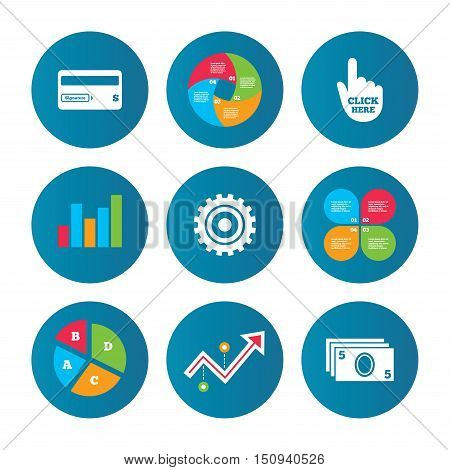 Business pie chart. Growth curve. Presentation buttons. ATM cash machine withdrawal icons. Insert bank card, click here and check PIN, processing and get cash symbols. Data analysis. Vector
