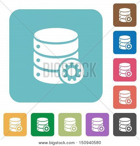 Flat database settings icons on rounded square color backgrounds.