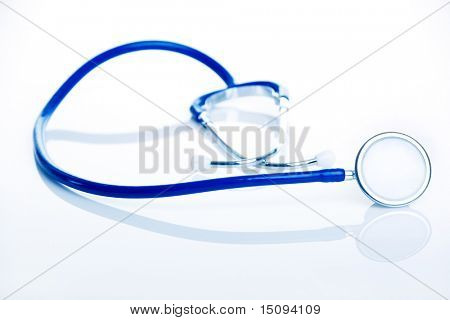 Stethoscope, medical instrument isolated over a white background