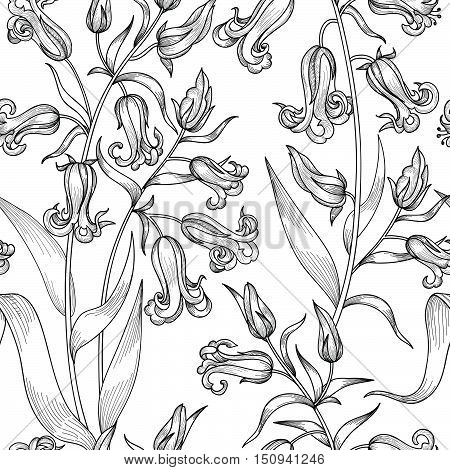 Floral etching seamless pattern. Flower bluebell engraving background. Floral tile ornamental texture with flowers. Spring flourish garden