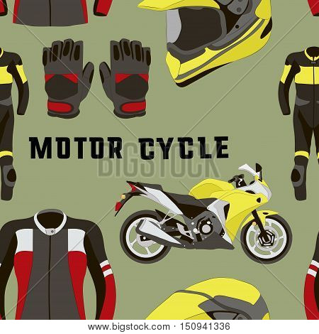 Vector set of motorcycle accessories pattern. Design elements and icons isolated on white background. Sport bike, helmet, gloves, boots, jacket.