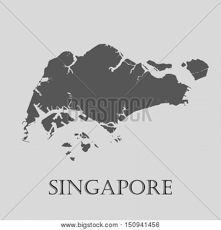 Gray Singapore map on light grey background. Gray Singapore map - vector illustration.