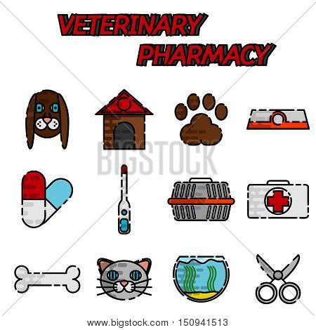 Veterinary pharmacy flat icons set with pills and herbs mortar abstract isolated vector illustration