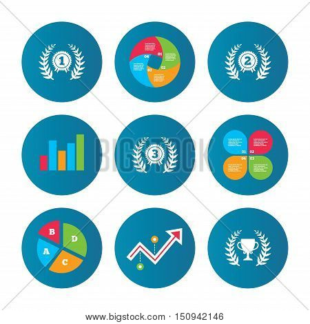 Business pie chart. Growth curve. Presentation buttons. Laurel wreath award icons. Prize cup for winner signs. First, second and third place medals symbols. Data analysis. Vector