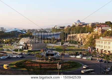 The View Of Europe Square With The Aerial Tramway Station In The Background