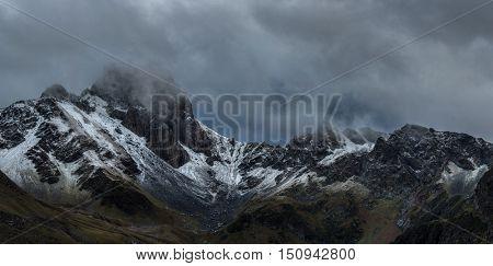 Panorama of mountain pass. Mountain pass Zagedan ang rock Zagedan. Caucasus mountains. Karachay-Cherkessia. Russia.