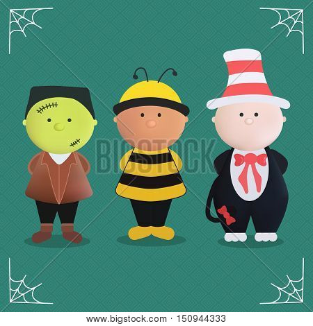 Character of Halloween in monster costume vector illustration. Frankenstein, bee and the cat in the heat. Cute cartoon halloween characters icon set.