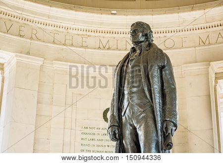 Washington DC, USA - August 27, 2016: Thomas Jefferson Memorial with bronze statue