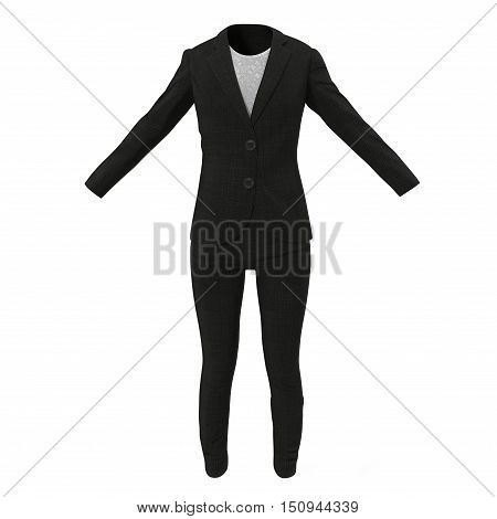 Front view Women Business Suit on white background. 3D illustration