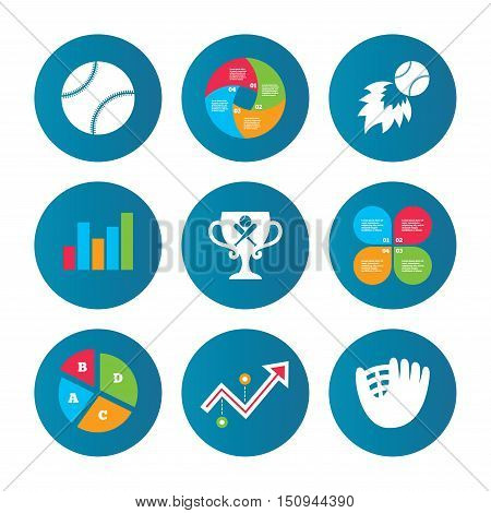 Business pie chart. Growth curve. Presentation buttons. Baseball sport icons. Ball with glove and two crosswise bats signs. Fireball with award cup symbol. Data analysis. Vector