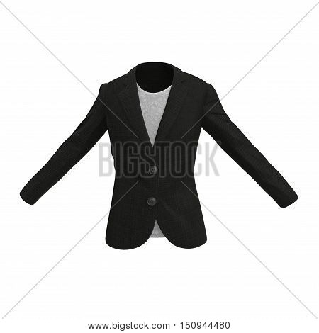 Front view Women Business Suit jacket on white background. 3D illustration