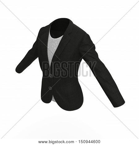 Women's black business dress isolated on white background. 3D illustration