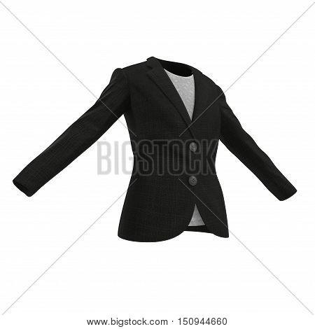 Black classic fashion elegant female jacket isolated on white. 3D illustration