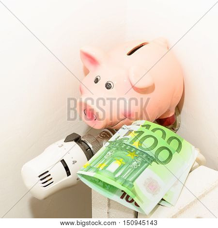 Concept Piggy the valve on the radiator for saving energy and money
