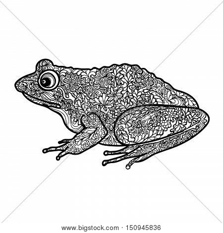 Frog Isolated. Black And White Ornamental Doodle Frog Illustration With Zentangle Decorative Ornamen
