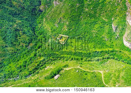 The ride on Wings of Tatev cableway over the Great Hermitage of Tatev (Tatevi Mets Anapat) located in valley of Vorotan river Syunik Province Armenia.