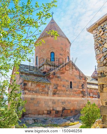 The basilica of Surb Astvatsatsin (Mother of God) is the red tuff building located in fortified Khor Virap Monastery Pokr Vedi Ararat Province Armenia.