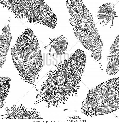 Feather seamless pattern. Vector feathers on a white background. Vintage tribal feather collection. Series of doodle feather.