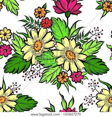 Floral seamless pattern. Flower chamomile bouquet background. Flourish ornamental posy summer nature pattern